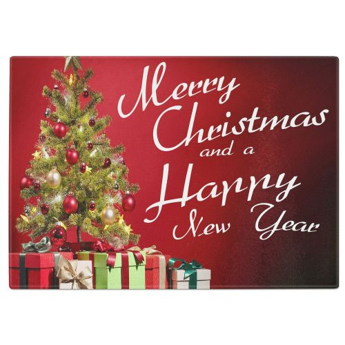 Merry Christmas And A Happy New Year Festive Tree Tempered Glass Chopping Board